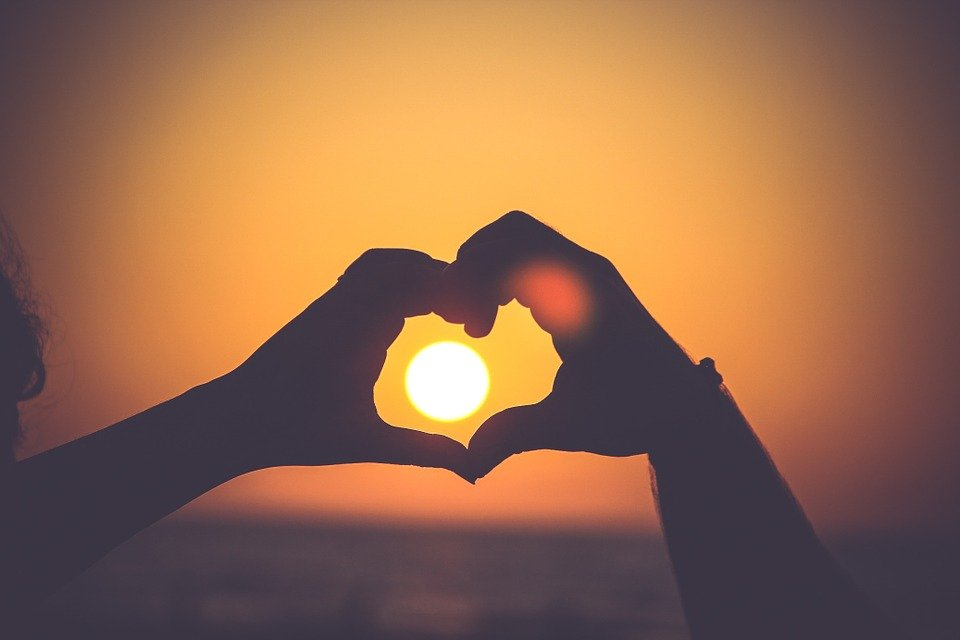 Heart, Hands, Silhouette, Love, Sunset, Sky, Romance